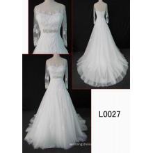 Мужская Мода Длинные Рукава Кружева Свадебное Платье Для Новобрачных