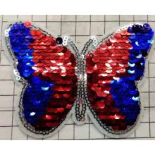 patch di paillettes a farfalla coloful con taglio laser