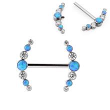 Fashion ASTM F136 Titanium Internal Clear and Blue Cubic Zirconia Bezel Setting Nipple Piercing Ring for Girl