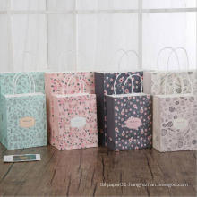 Flower Printed Kraft Paper Gift Bag With Handles Festival Gift Bags DIY Multi-function Custom Shopping Bags