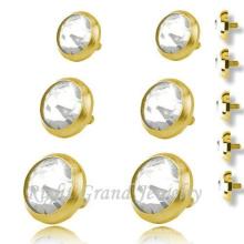 Chapado en oro Skin Diver Tops 316L Acero Quirúrgico Body Piercing Jewelry-Micro Dermal Anchors