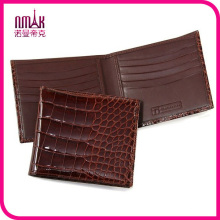 100% Tail Section Genuine Crocodile Leather Men′s Bifold Wallet Shiny Brown New
