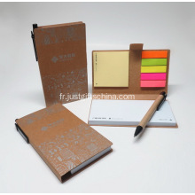 Directe d'usine Notebook collant ensemble w / stylo recyclé