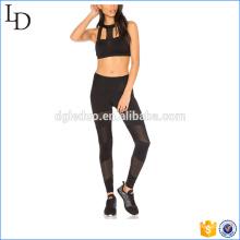 Sexy malha de nylon spandex yoga calças e conjuntos de sutiã esportivo desgaste da ioga atlética