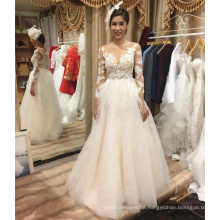 Langes A-line Hochzeitskleid-Brautkleid Alibaba heißen Verkaufs langes