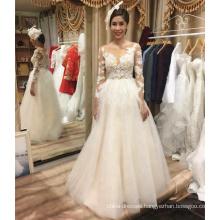 Alibaba hot sale long sleeve a-line wedding dress bridal gown