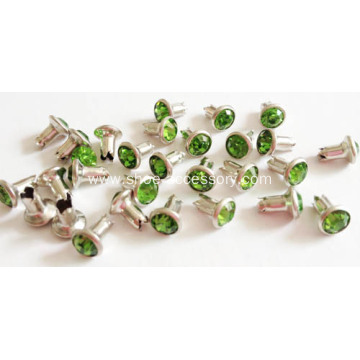 Rhinestone Rivets with Peridot Stone Embellished