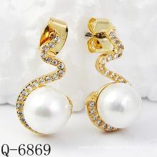 Derniers styles Boucles d'oreilles en perle 925 en argent (Q-6869)