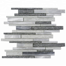 Strip Silver and Grey Glass Mixed Metal Mosaic Tile Glass for Kitchen Backsplash