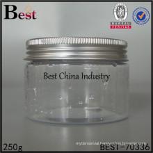 clear bottle plastic container, 250g clear plastic jar, big size plastic jar supplier