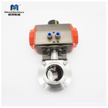 Vanne papillon à actionneur pneumatique sanitaire SUS304 / 316L 1 / 4inch-10inch