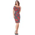 Belle Poque Short Sleeve Off Shoulder Hips-Wrapped Vintage Retro 50s Floral Print Pencil Summer Wiggle Dress US 2~16 BP000117-5