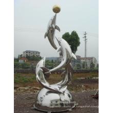Edelstahl im Freien große Tier Statue Brunnen Delfine Statue