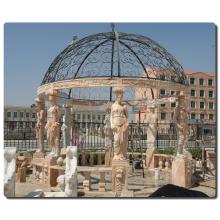 decoração de jardim ao ar livre escultura em pedra gazebo de mármore italiano