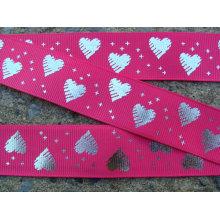 Moda diseño del grosgrain cinta con corazón metalizado plata brillante cinta impresa