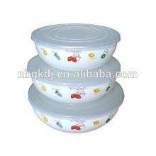 эмаль миски посуда decorared с крышкой