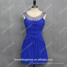 RP0139 Round neckline beaded gathered royal blue sexy factory lady fashion real pictures of cocktail dresses
