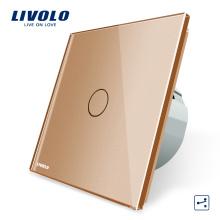 Interrupteur électrique, panneau de verre en cristal de luxe doré et norme européenne, avec interrupteur intermédiaire