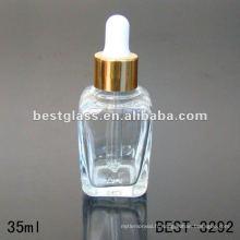 Bouteille d'huile essentielle carrée claire 35 ml avec bouchon compte-gouttes en aluminium