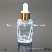 35ml clear square essential oil bottle with aluminum dropper cap