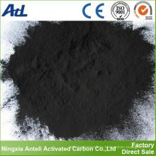 polvo negro de carbón activado