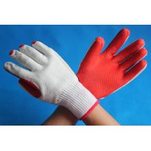 Gants rouges en coton revêtus de caoutchouc
