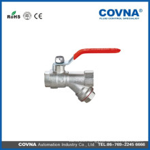 New bonnet steel handle with filters Forged NPT full port brass ball valve
