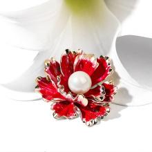 Red Flower Shaped Brooch For Women