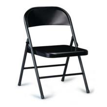 Chaise pliante noire, chaises en dossier en métal pour bureau