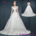 Vintage Retro Bag Shoulder V Neck and Cap Sleeves Princess Wedding Dress