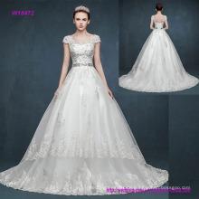 Vintage Retro Tasche Schulter V-Ausschnitt und Kappen-Hülsen-Prinzessin Wedding Dress