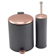 Copper Lid Black Trash Can with Toilet Brush