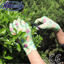 NMSAFETY 13G Light Duty Flower Printed Nitrile Dipped Garden Glove