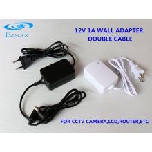 12V 1A Adaptateur mural double câble Adaptateur CCTV 5.5 * 2.1mm