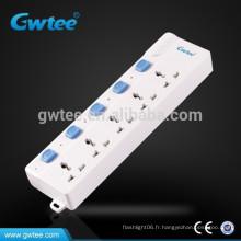Prise de courant à 5 voies avec prise électrique universelle avec interrupteurs individuels