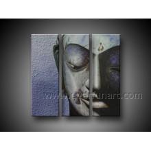 100% handgemalte Buddha-Gesichts-Ölgemälde auf Leinwand