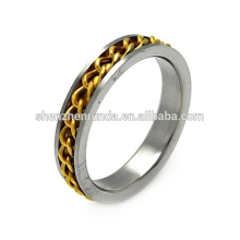 5MM ACIER INOXYDABLE DOUBLE TONE CURB LINK INLAY MENS RING