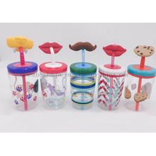 OEM Creative Juice Water Bottle Straw Cup with Cartoon Design