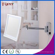 Fyeer único lado quadrado dobrável LED espelho de maquiagem de banheiro