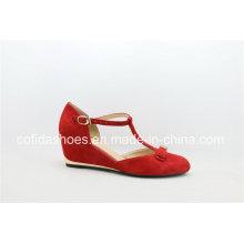 Wedge Heel Geunine Leather Lady Fashion Shoes