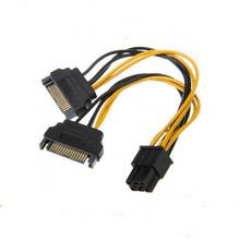Dual SATA macho de 15 pinos para cabo de alimentação feminino 6pin PCI-E
