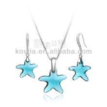Mignon ensemble de bijoux en cristal à cinq branches pour les filles