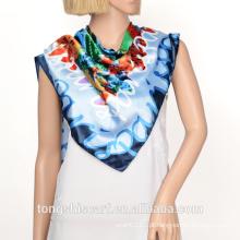 Moda feminina nova impressão 100 lenço quadrado de cetim de seda