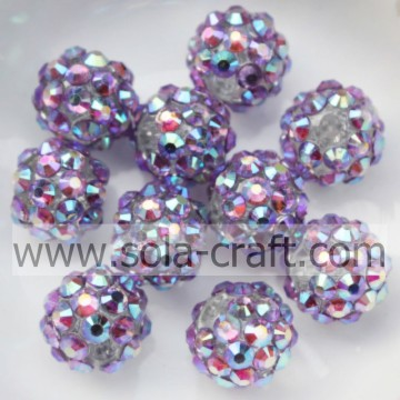 Hot Sale Blue Multicolor Acrylic Chunky Solid Resin Rhinestone Ball Beads 10*12MM