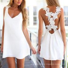Vestido de verano gasa sin mangas sin respaldo caliente blanco del verano (50149)