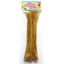 Goldene gelockte Glitter Chenille Stengel Lametta Pfeifenreiniger