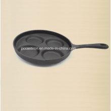 4PCS Gusseisen-Kuchen-Form mit Handgriff Preseaseoned Beschichtung