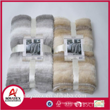 super soft double layer shade stripe fake fur blanket,backside with short floor micromink