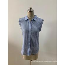 Sleeveless Light Blue Striped Blouse For Women