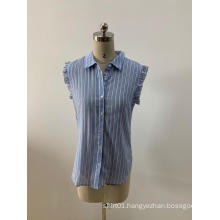 Sleeveless Light Blue Striped Blouses For Women